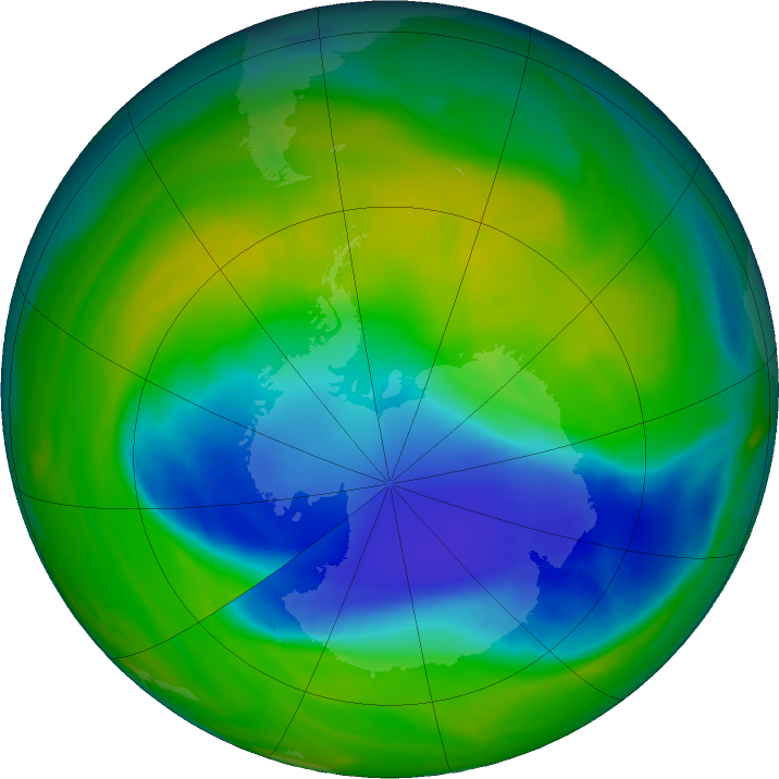 Antarctic ozone map for 22 November 2018