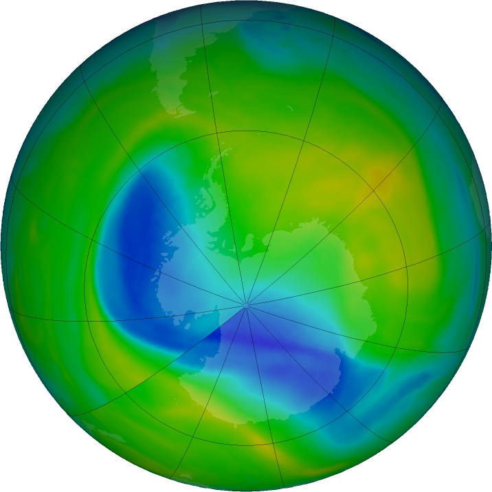 Antarctic ozone map for 24 November 2018