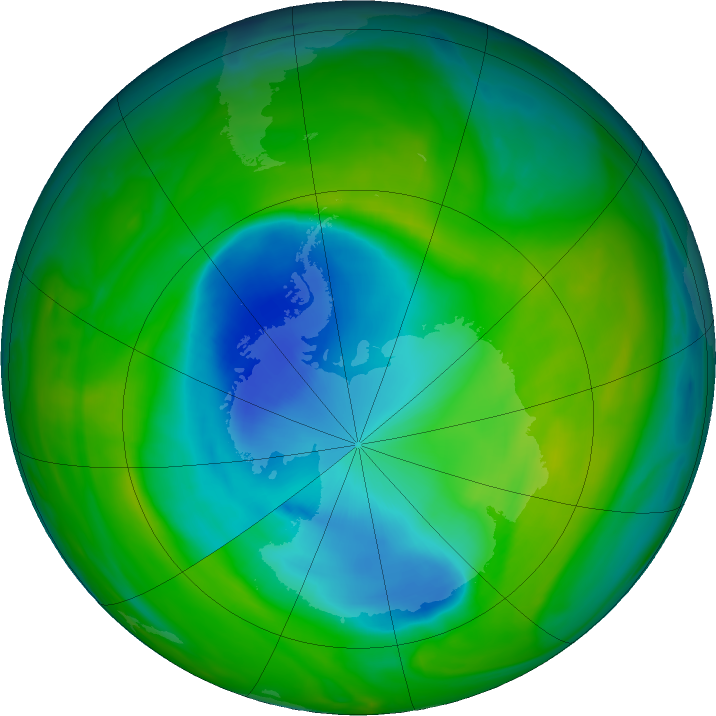 Antarctic ozone map for 26 November 2018