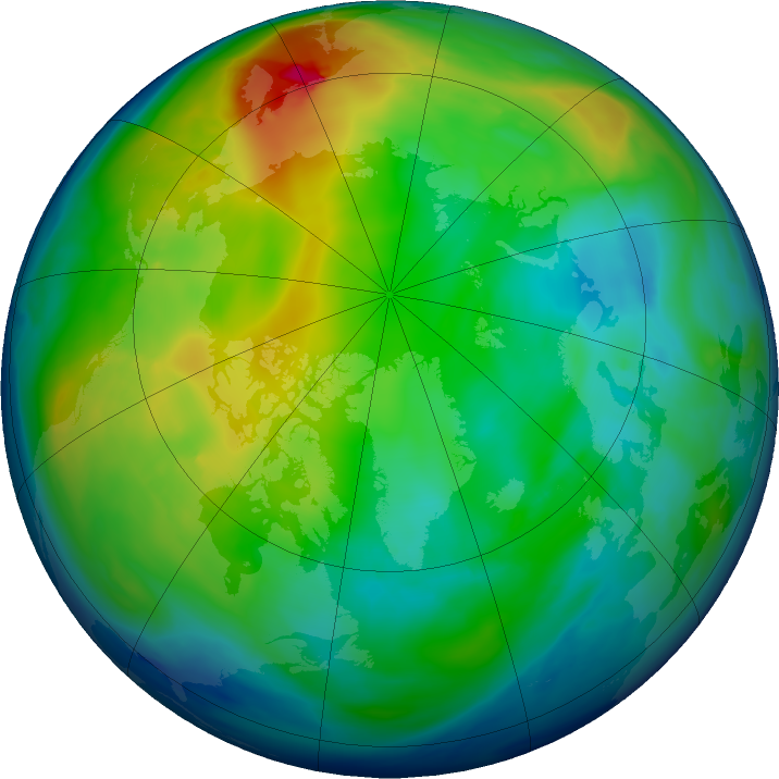 Arctic ozone map for 01 December 2018