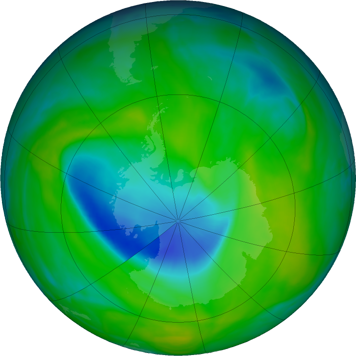 Antarctic ozone map for 01 December 2018