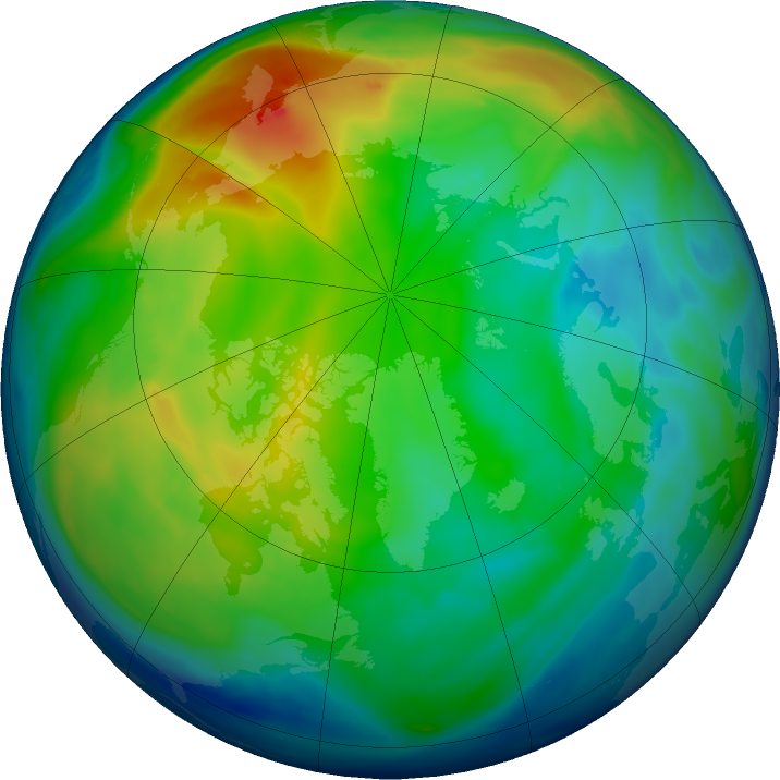 Arctic ozone map for 02 December 2018