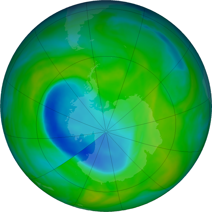 Antarctic ozone map for 02 December 2018