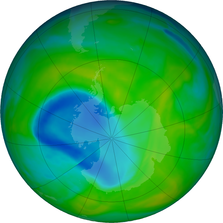 Antarctic ozone map for 03 December 2018