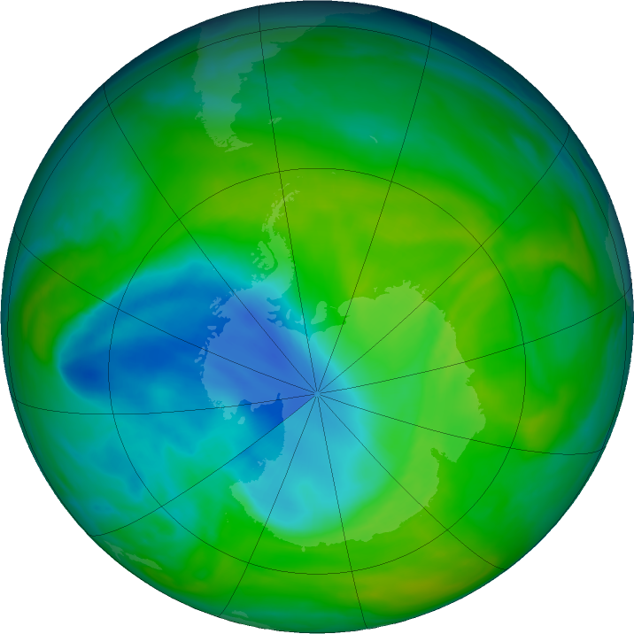 Antarctic ozone map for 04 December 2018