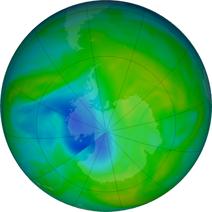 Antarctic ozone map for 05 December 2018