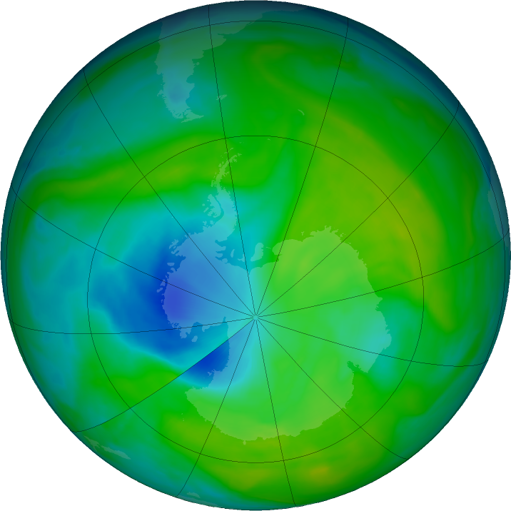 Antarctic ozone map for 06 December 2018