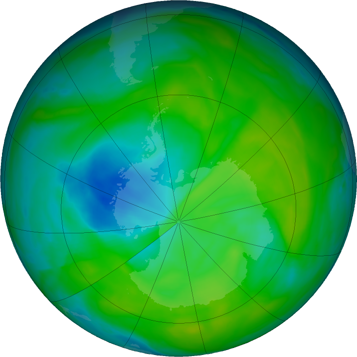 Antarctic ozone map for 07 December 2018