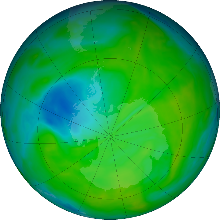 Antarctic ozone map for 08 December 2018