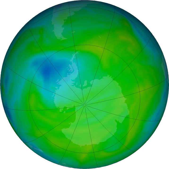 Antarctic ozone map for 09 December 2018