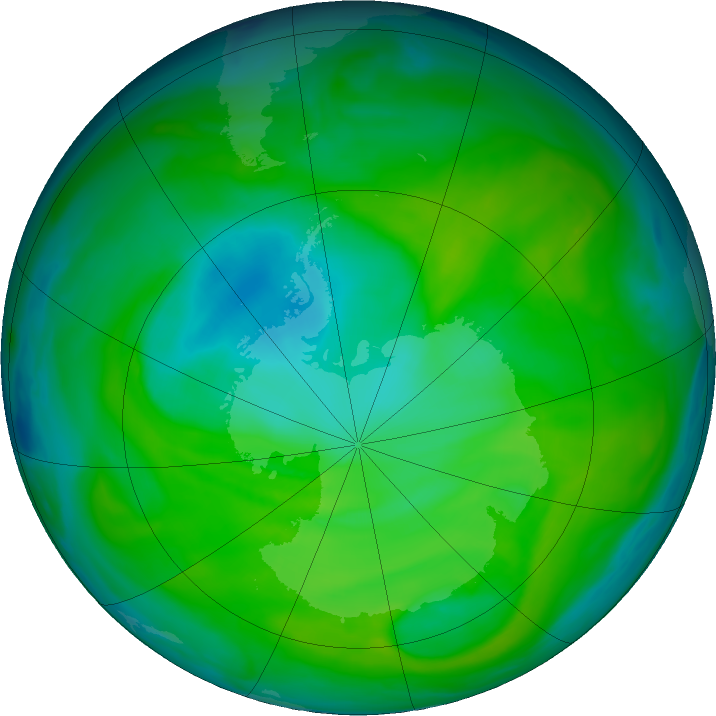 Antarctic ozone map for 10 December 2018