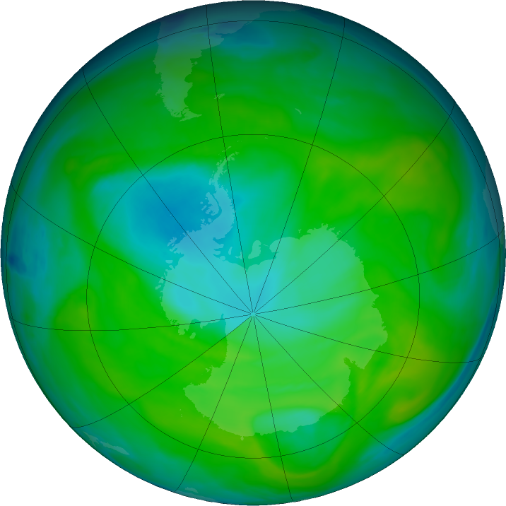 Antarctic ozone map for 11 December 2018
