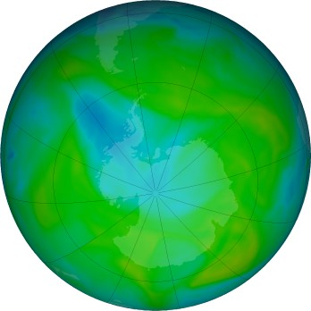 Antarctic ozone map for 2018-12-12