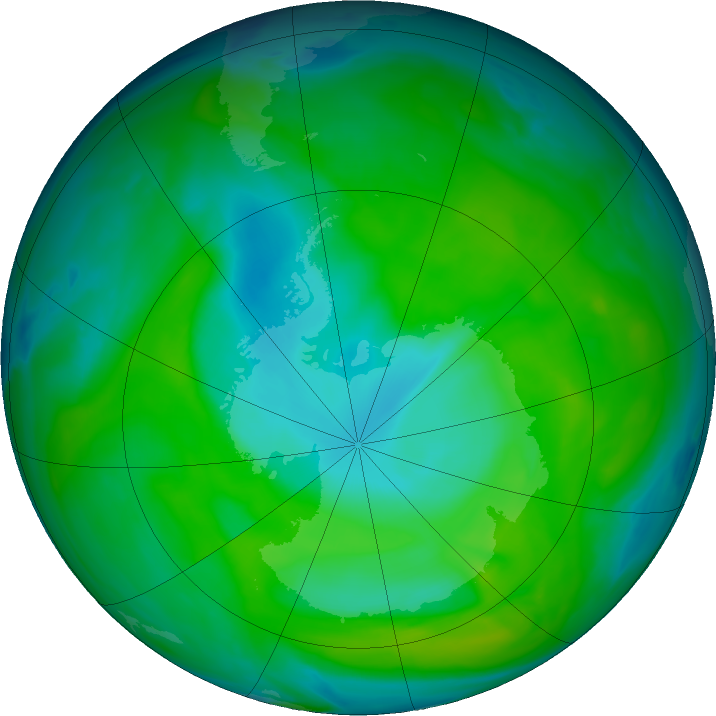 Antarctic ozone map for 13 December 2018