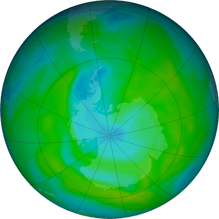 Antarctic ozone map for 14 December 2018
