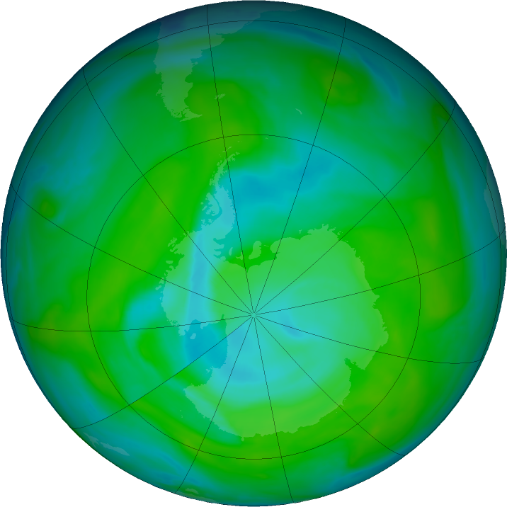 Antarctic ozone map for 16 December 2018
