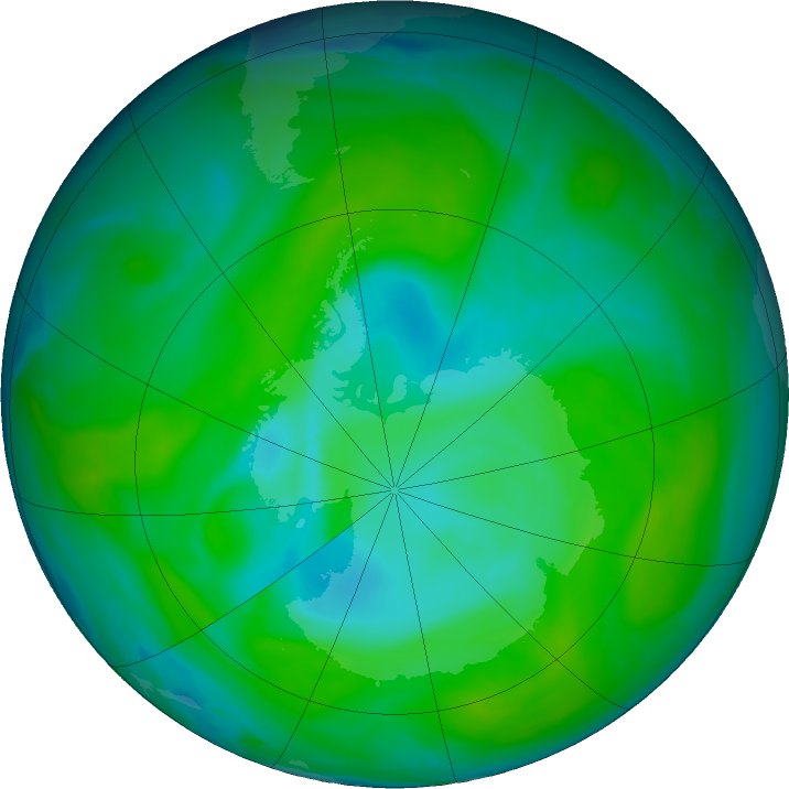 Antarctic ozone map for 17 December 2018