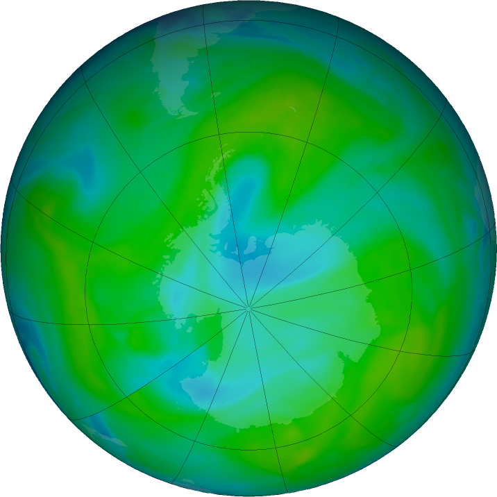 Antarctic ozone map for 18 December 2018
