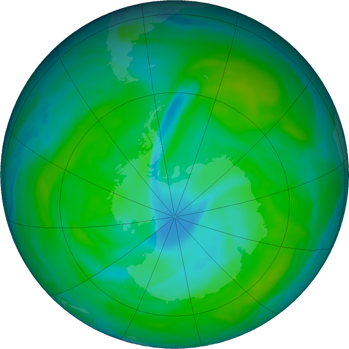 Antarctic ozone map for 20 December 2018