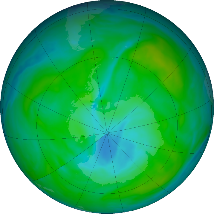 Antarctic ozone map for 21 December 2018