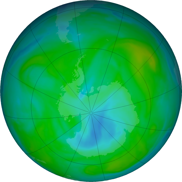 Antarctic ozone map for 22 December 2018