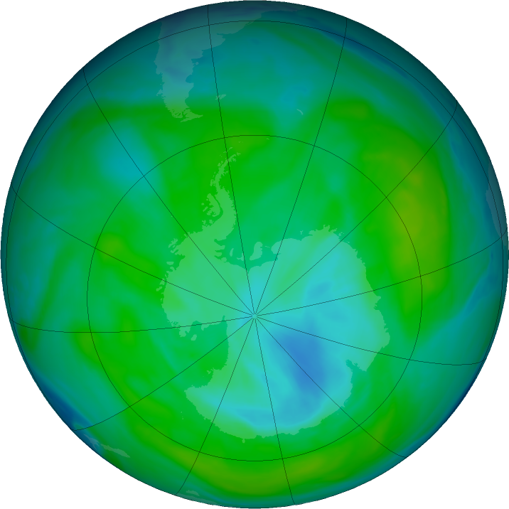 Antarctic ozone map for 24 December 2018
