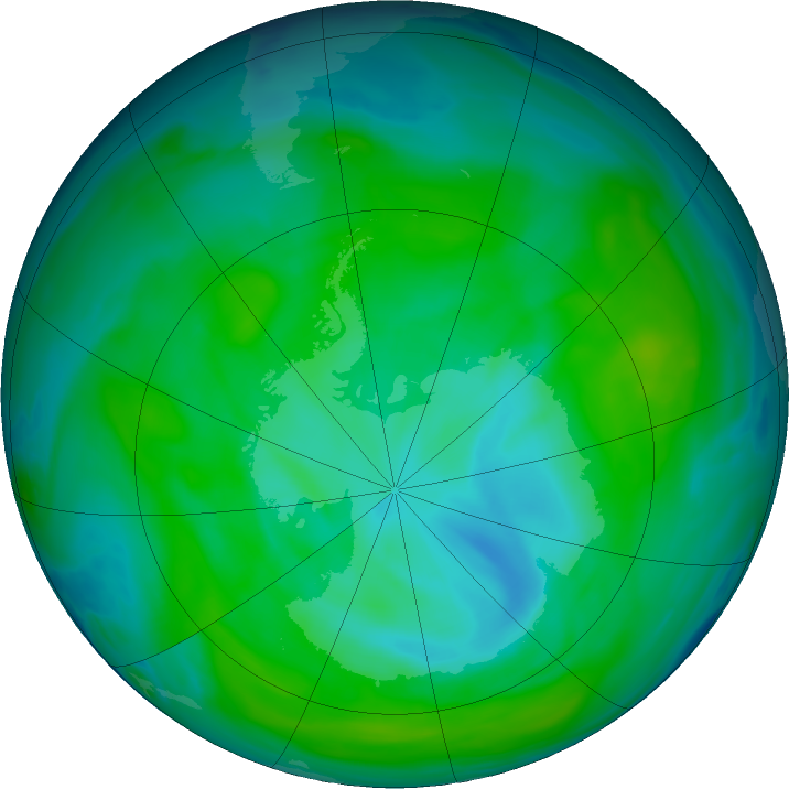 Antarctic ozone map for 25 December 2018