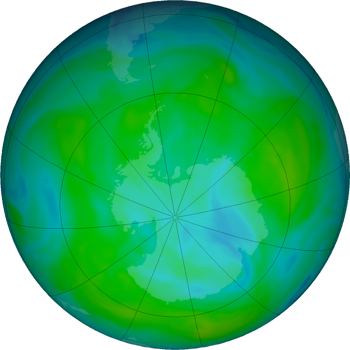 Antarctic ozone map for 26 December 2018