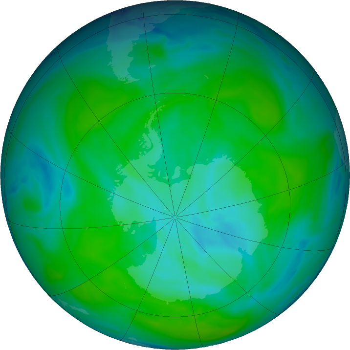 Antarctic ozone map for 27 December 2018