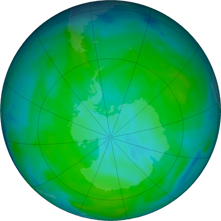 Antarctic ozone map for 29 December 2018