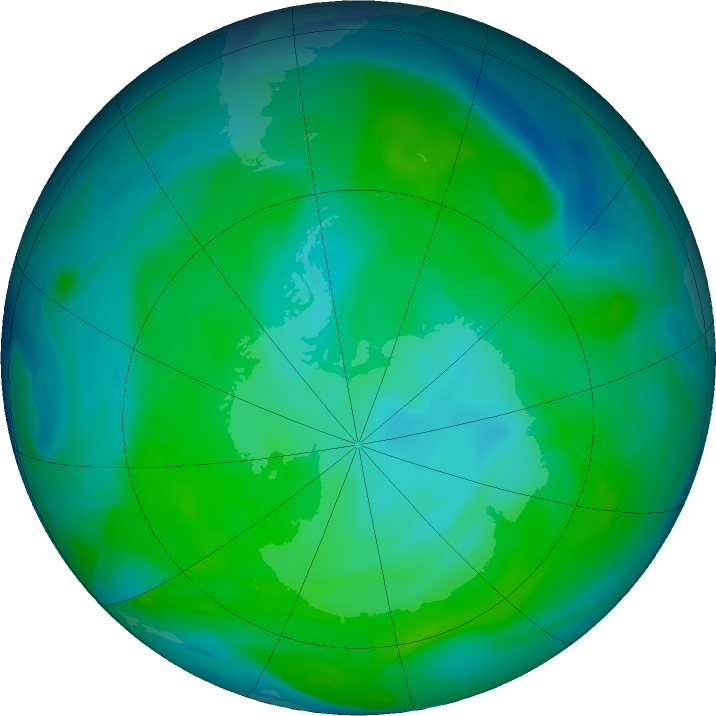 Antarctic ozone map for 04 January 2019