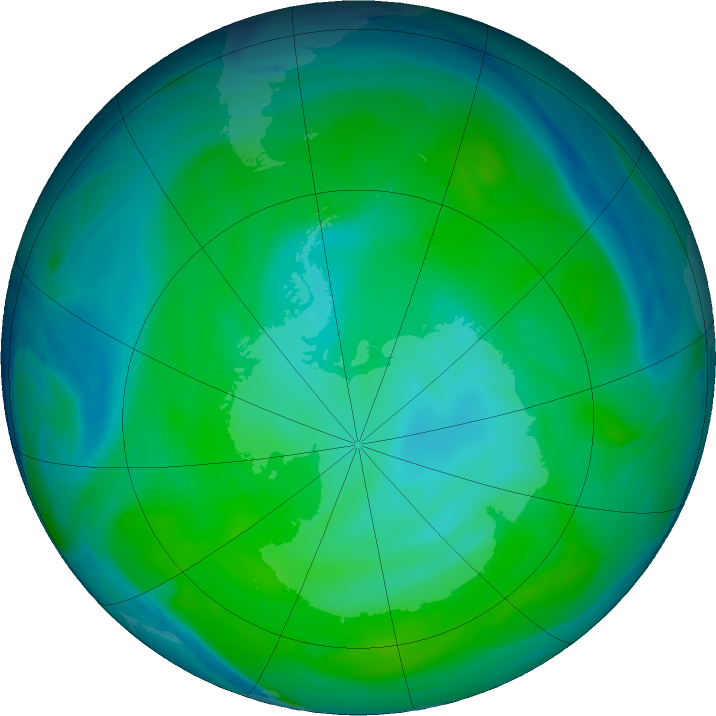 Antarctic ozone map for 05 January 2019