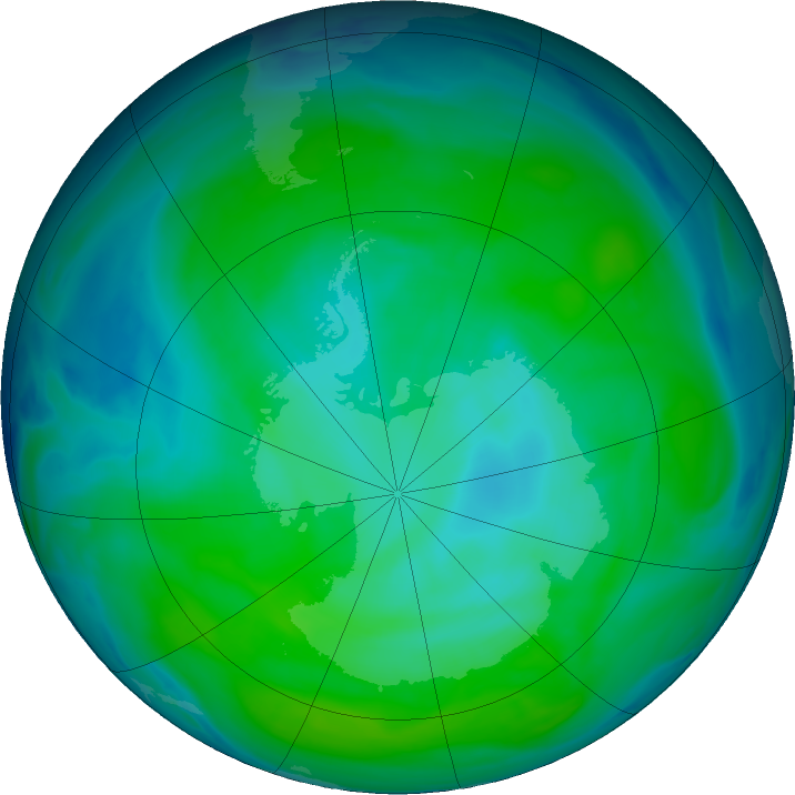 Antarctic ozone map for 06 January 2019