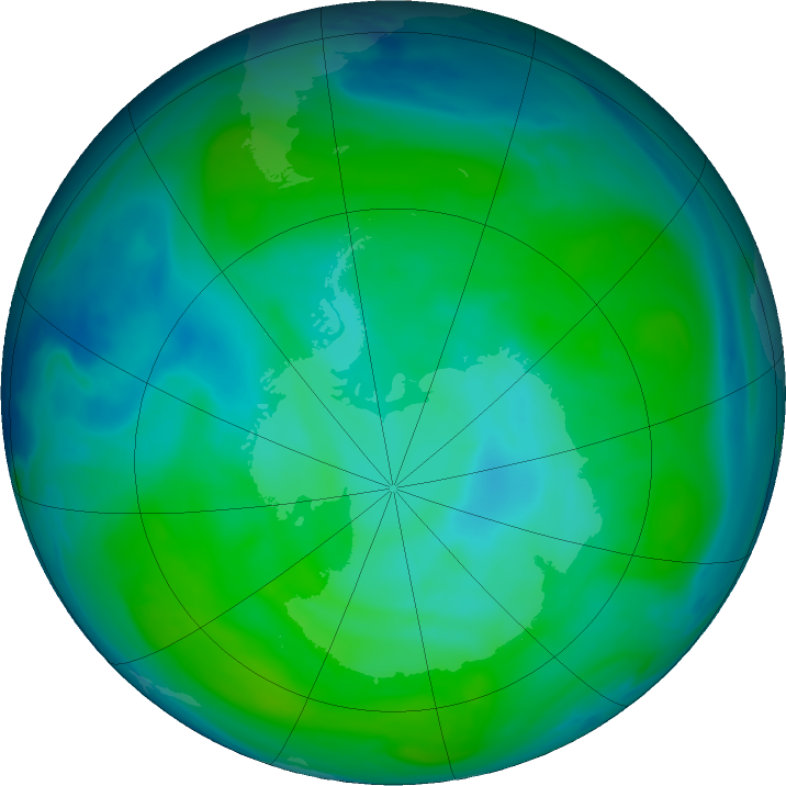 Antarctic ozone map for 07 January 2019