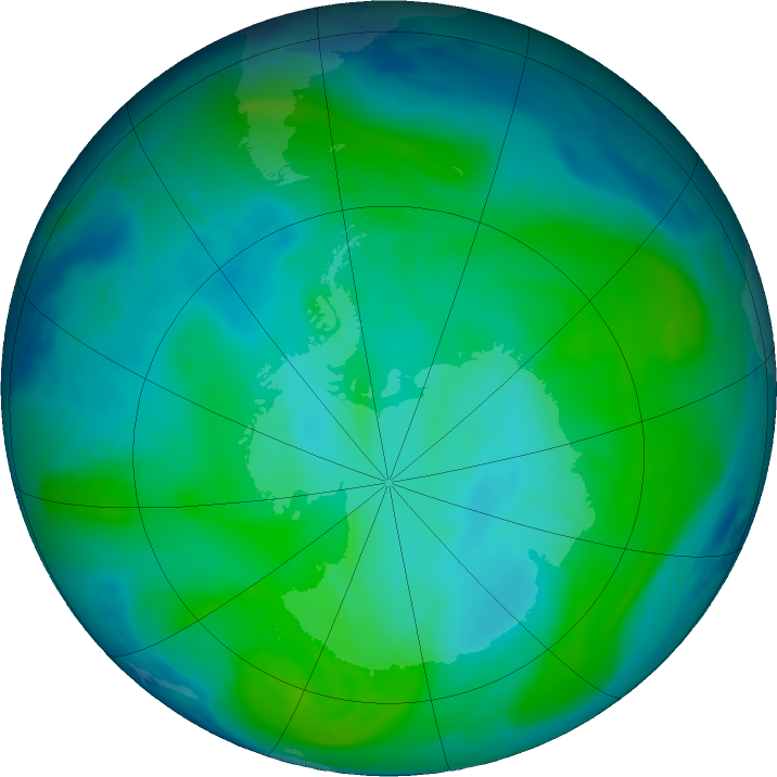 Antarctic ozone map for 09 January 2019
