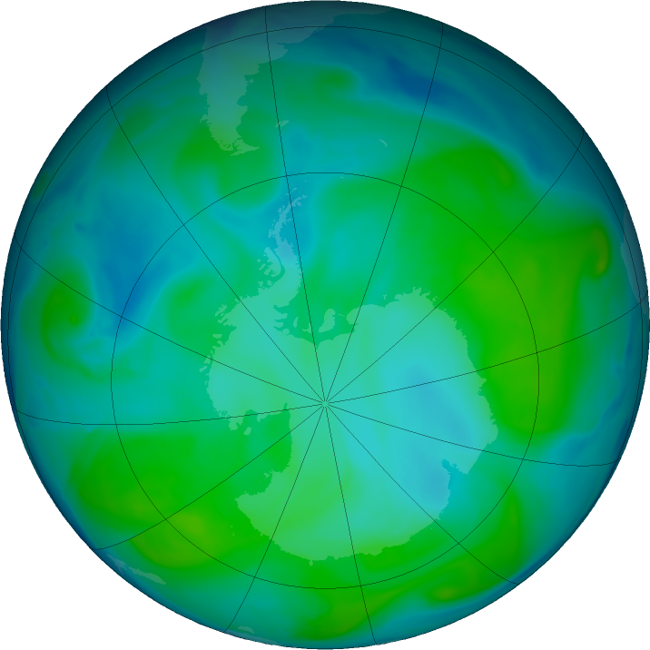Antarctic ozone map for 11 January 2019
