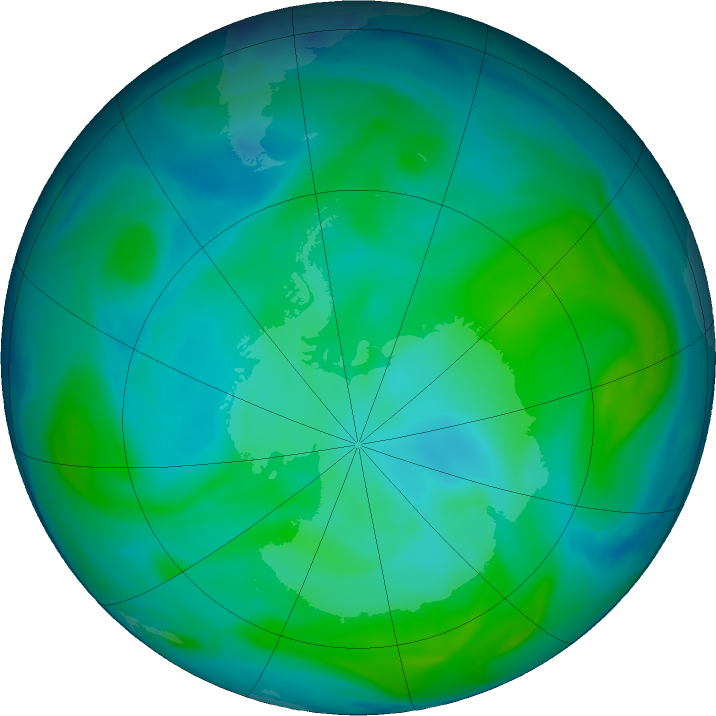 Antarctic ozone map for 13 January 2019