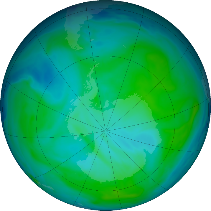 Antarctic ozone map for 15 January 2019