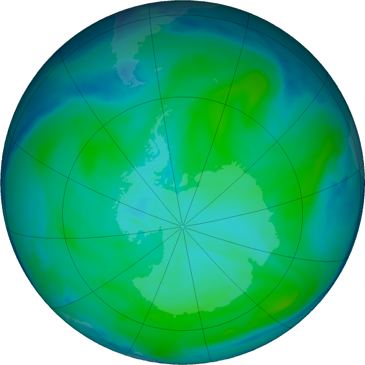 Antarctic ozone map for 18 January 2019