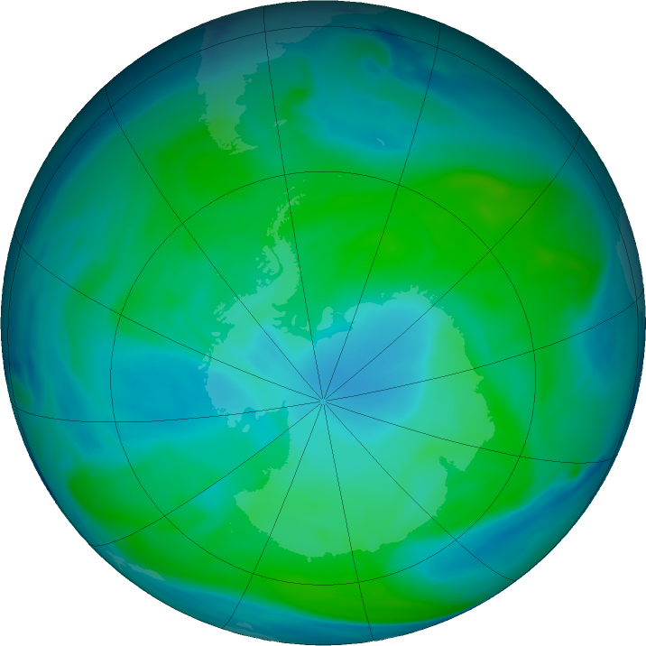 Antarctic ozone map for 21 January 2019