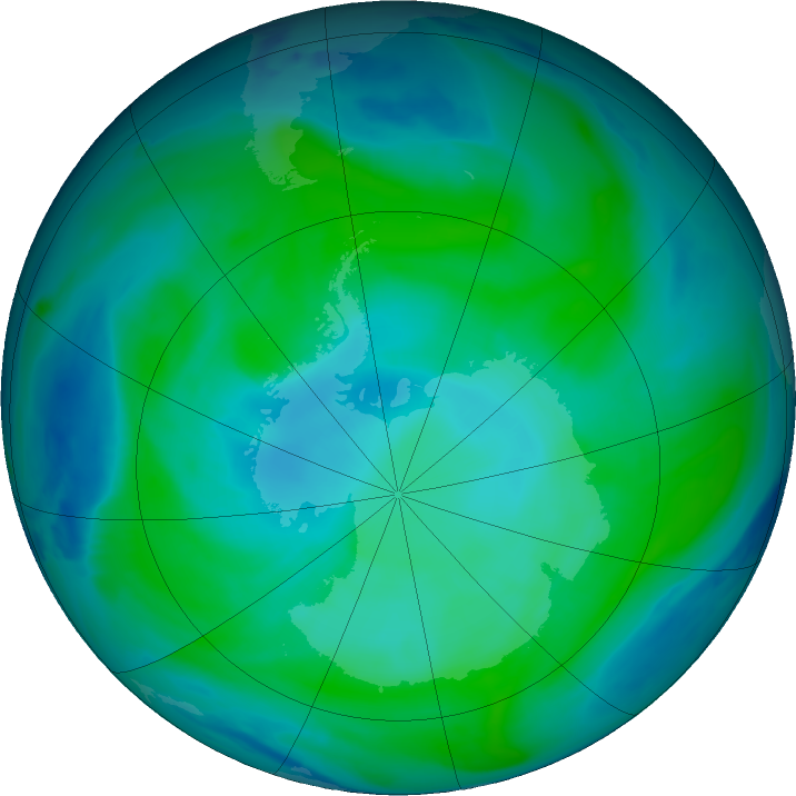 Antarctic ozone map for 25 January 2019