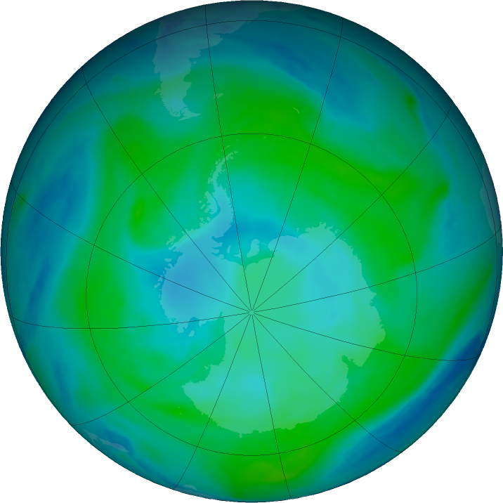 Antarctic ozone map for 26 January 2019