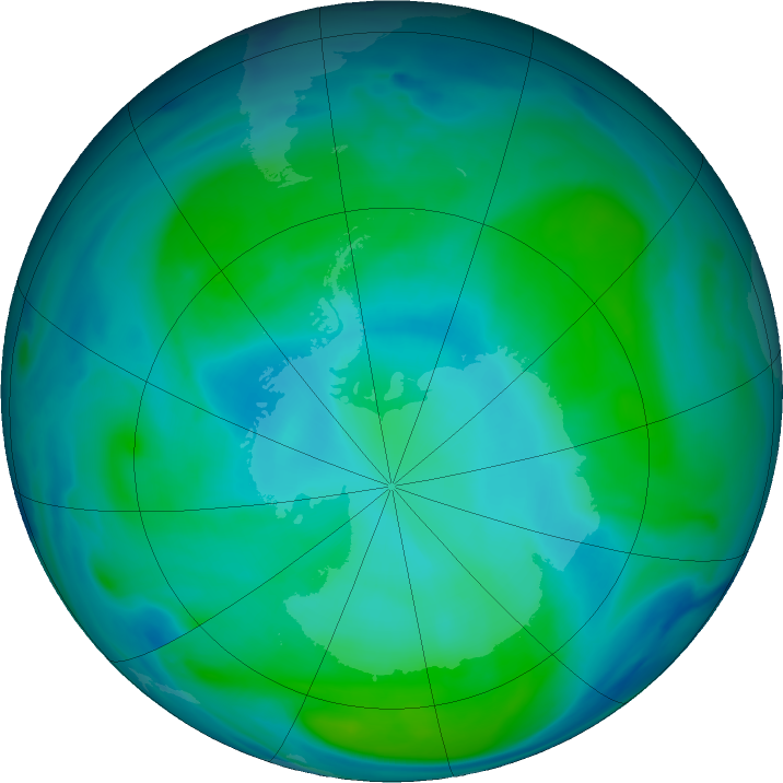 Antarctic ozone map for 28 January 2019