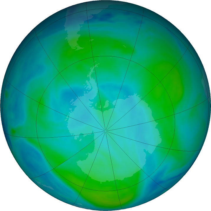 Antarctic ozone map for 29 January 2019
