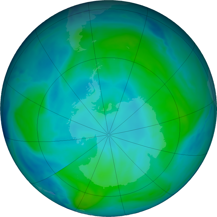 Antarctic ozone map for 31 January 2019