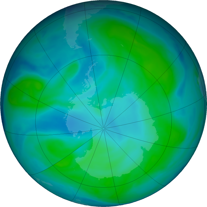 Antarctic ozone map for 02 February 2019