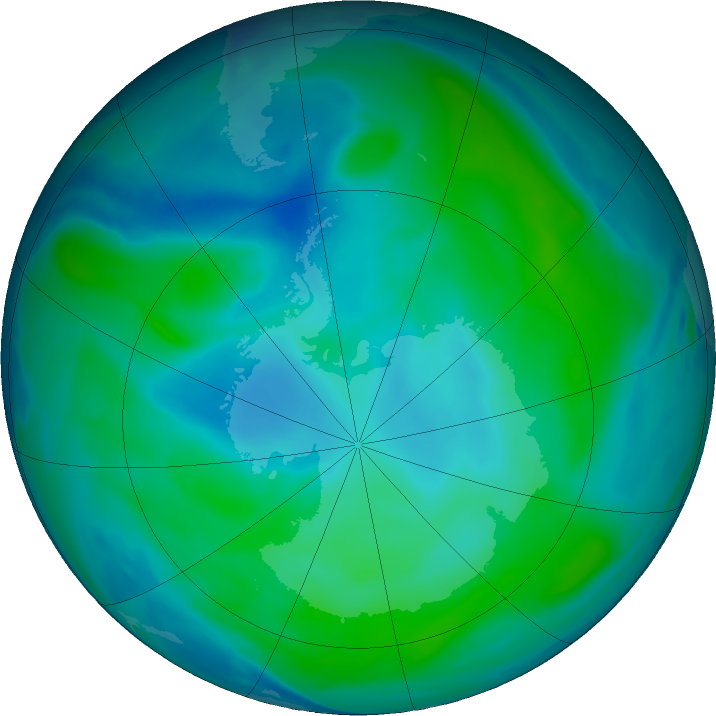 Antarctic ozone map for 03 February 2019