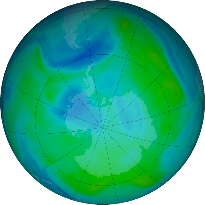 Antarctic ozone map for 04 February 2019