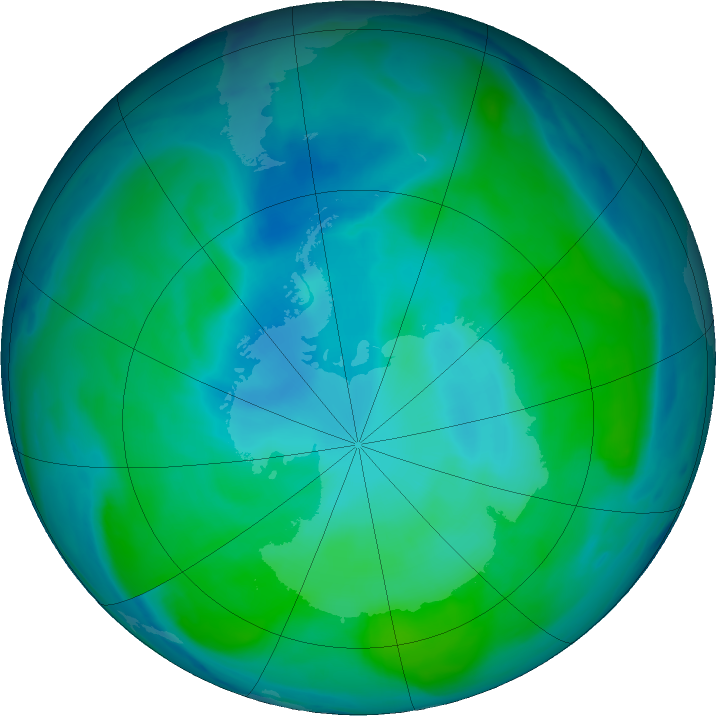 Antarctic ozone map for 05 February 2019