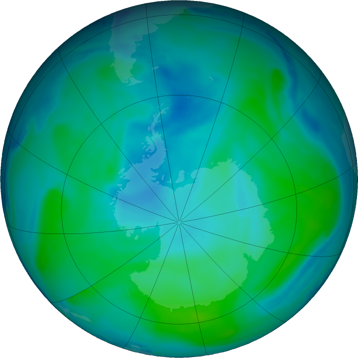 Antarctic ozone map for 06 February 2019